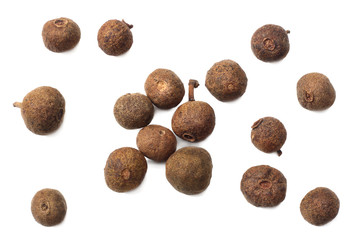 Allspice pepper isolated on white background. Peppercorn. Macro. top view