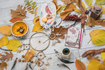 Autumn composition with objects