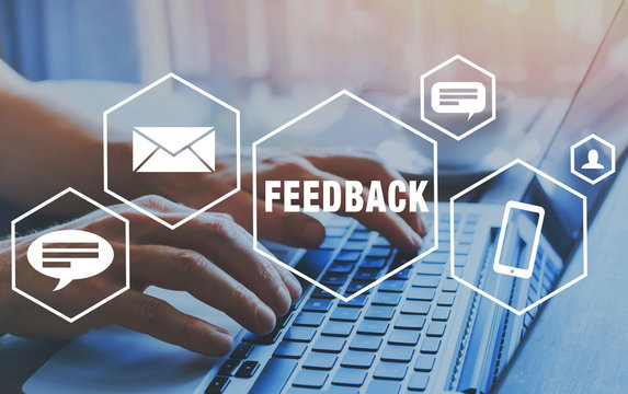 feedback concept, user comment rating of company online, writing review diagram, reputation management