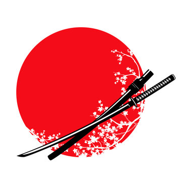 traditional samurai sword and blooming sakura branches - katana and japanese red sun vector design