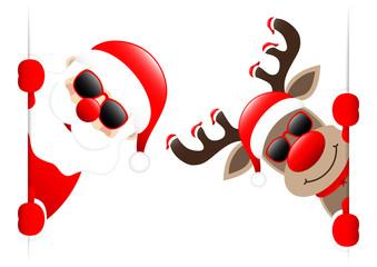Santa & Rudolph 7 Hats Sunglasses Banner