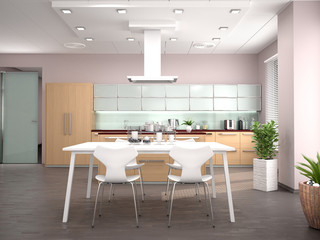 Interior design modern kitchen studio. 3d illustration