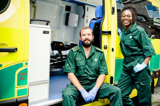 Paramedics team with an ambulance