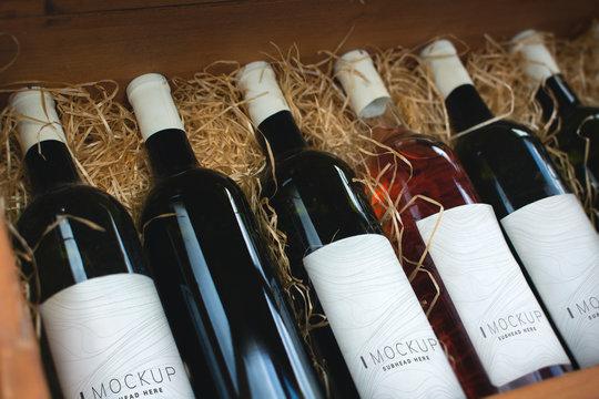 Collection of wine bottle mockups