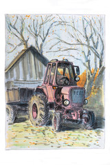 Painted pink the Soviet tractor is worth on the street of the village in the fall.Illustration sketch marker made.
