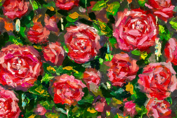 Red roses flowers Oil Painting, Impressionism style, texture painting, flower still life painting art painted color image, wallpaper and backgrounds, canvas, artist, painting floral pattern