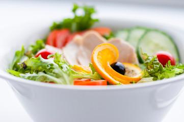 Vegetable salad with turkey