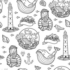 Nautical elements. Hand drawn vector seamless pattern