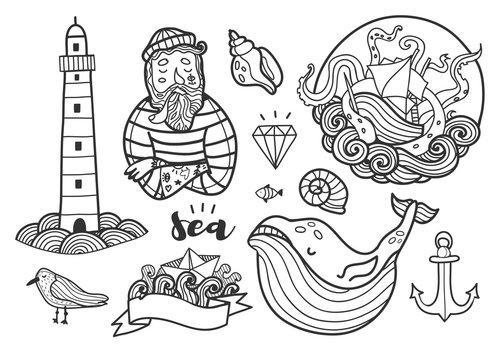 Nautical elements. Hand drawn vector set. All elements are isolated