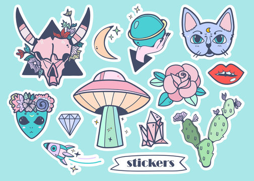 Hand drawn trendy stickers. Colored vector set. All elements are isolated