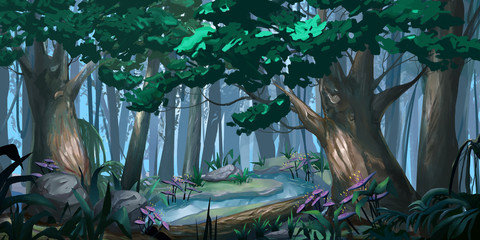 Forest. Realistic Style. Video Game Digital CG Artwork, Concept Illustration, Realistic Cartoon Style Scene Design