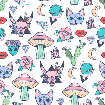 Hand drawn various trendy doodles. Colored vector seamless pattern
