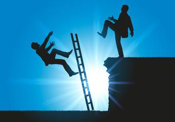 Concept sur le conflit en entreprise pour le leadership, un homme fait volontairement tomber son concurrent d'une échelle.