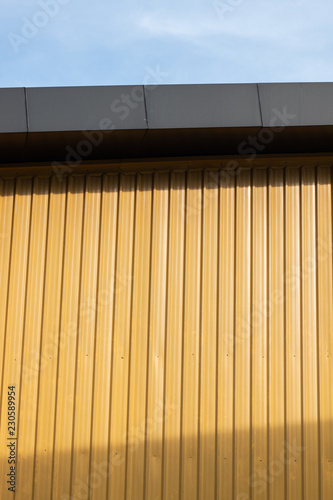 Yellow Zinc With Light And Shadow And Sun Roof Garage Stock Photo