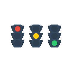 Traffic light  flat icon on isolated white transparent background.