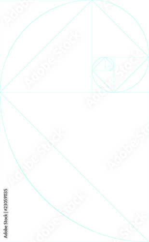 vertical blank golden ratio template with guides stock image and
