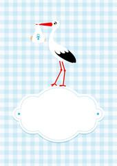 Baby Card Boy Stork Cloud Blue Check Pattern