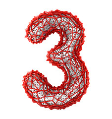 Number 3 three made of red plastic with abstract holes isolated on white background. 3d