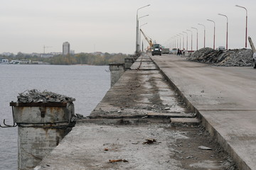 Repair of the New Bridge in the city of Dnipro, Ukraine, repair of the bridge, reinforcement and concrete