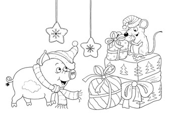 Christmas. New Year. Year of Pig. Greeting card. Coloring page.  Cute and funny cartoon characters