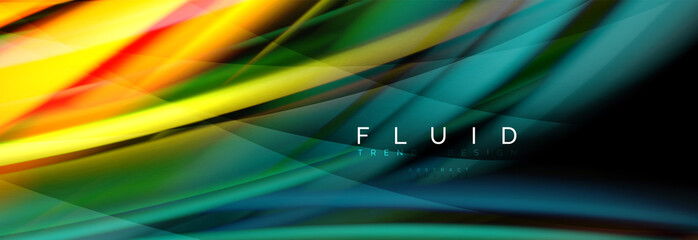Wave fluid flowing colors motion effect, holographic abstract background. Vector illustration