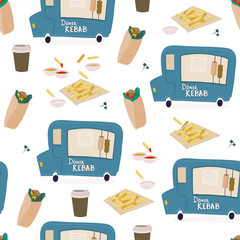 Doner kebab, fries and coffee. Doner food truck. Colored vector seamless pattern
