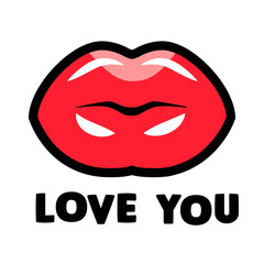 Kissing lips with LOVE YOU sign for sticker, shirt, Valentine's card design. Isolated flat lined vector illustration.