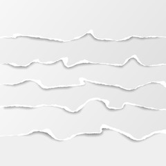 Set of white horizontal ripped paper strips, torn note paper for text or message. Vector illustration