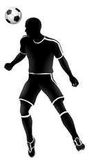 A soccer football player heading a ball silhouette sports illustration