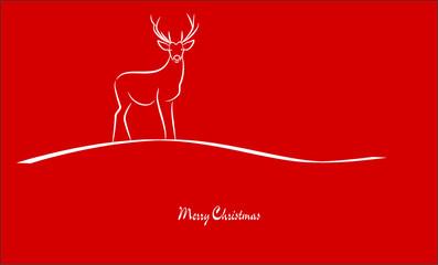 Merry Christmas - Hirsch - Grußkarte