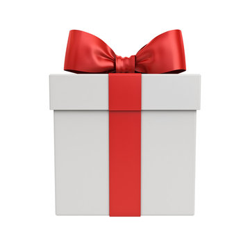 Gift box or Present box with red ribbon and bow isolated on white background 3D rendering