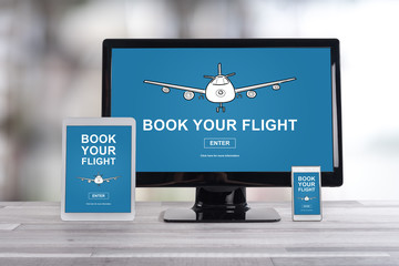Flight booking concept on different devices