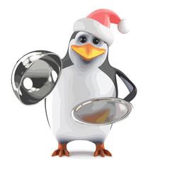 Vector 3d Xmas penguin silver service