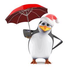 Vector 3d Santa penguin with a red umbrella