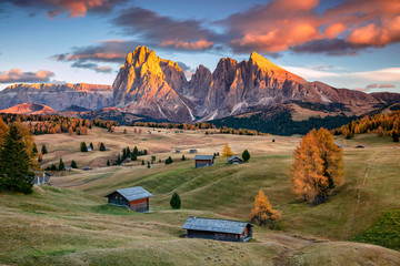 Wall Murals European Famous Place Dolomites. Landscape image of Seiser Alm a Dolomite plateau and the largest high-altitude Alpine meadow in Europe.