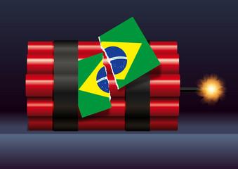 élection, brésilienne, 2018, dynamite, drapeau, Brésilien, politique, Brésil, division, électeur, pouvoir