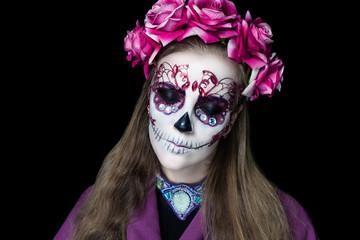 Woman art make up Scary skull