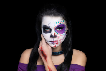 Woman art make up Scary skull