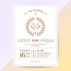 cute wedding invitation card with pink flower wreath