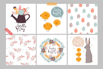 Set of cute easter cards and seamless patterns. Hand drawn vector illustrations