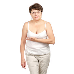Woman aged breast disease mammal on white background isolation