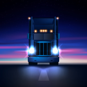 Night large classic big rig semi truck with headlights and dry van semi riding in the dark on the night road on colorful starry sky background front view, vector illustration