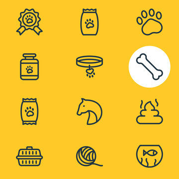 Vector illustration of 12 animal icons line style. Editable set of pet food, paw, transport box and other icon elements.