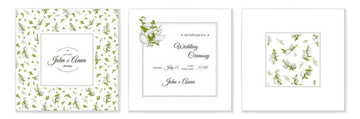 Greeting card with flowers bouquet - white Sweet pea.