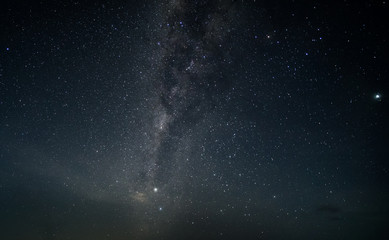 Night sky with stars and milky way. Subject is blurred, low key and noise.