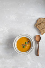 Minimal picture - pumpkin soup plate top view