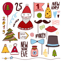 Christmas doodle collection. New year cute stickers. Holiday funny elements set. Photo props for christmas party.