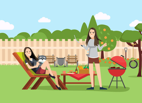 sisters on BBQ party on the backyard of the house smiling and eating. Cooking tasty barbeque on grill. Vector illustration in cartoon style