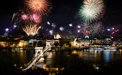 Fireworks in Budapest over the city and chain bridge