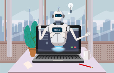 Free Chat Bot, Robot Virtual Assistance On Laptop Say Hello Element Of Website Or Mobile Applications, Artificial Intelligence Concept Cartoon Vector Illustration Office Background